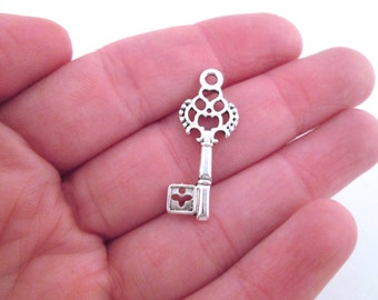 Silver skeleton key charms 28x12mm, pick your amount, D158