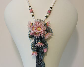 Flowing Flowers, Bead Woven Flower Necklace, Bead Work Necklace, Pink Beaded Necklace, Floral Necklace, Handmade Necklace, Flower Necklace