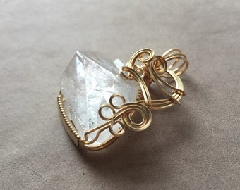 Natural Apophyllite Pyramid Crystal 14K Gold Filled Wire Wrapped Pendant, Apophyllite Jewelry