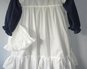 Victorian Costume dress and pinafore apron prairie and pioneer .Handmade and custom made matching mop hat