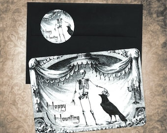 Halloween, Happy Haunting, Cards w/ Stickers, Skeleton & Raven, Halloween Card