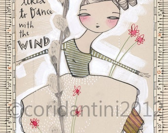dancer - folk painting - an 8 x 10 limited edition and archival print of an original watercolor by cori dantini