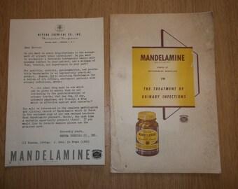 1950 MANDELAMINE Drug PROMO Book & Oeiginal NEPERA Chemical Co Letter