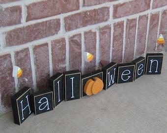 HALLOWEEN BLOCKS for shelf, gift, mantle, desk, October and home decor