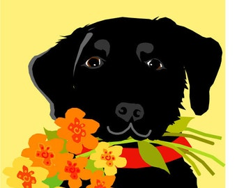 greeting card black lab with flower bouquet