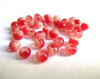 20 speckled red and white 4mm transparent beads