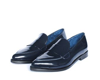 Leather Moccasin Shoe Blue Navy
