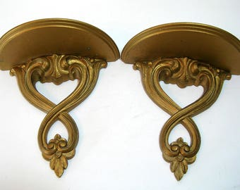 Vintage Syroco Wood Gold Wall Sconces Display Shelves Pair