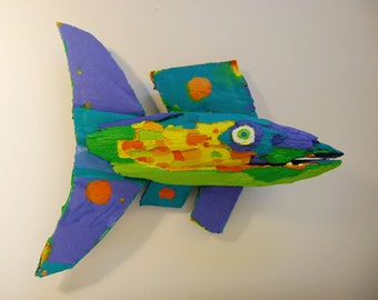 Original 3-D Fish Art Created out of drift wood, Recycled Materials and Painted with bright color ready to Hang in any Room for Fun Decor