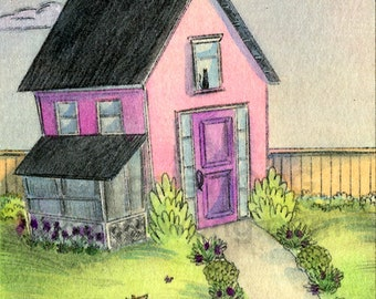 Original ACEO Drawing and Painting -- Quiet Yard