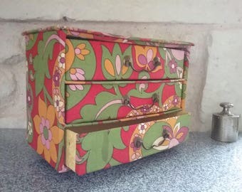 Wooden sewing box Vintage seventies box patterned retro drawers for sewing, France 70s