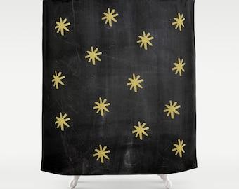 Shower Curtain, Stars, Gold Shower Curtain, Rustic Bathroom Decor, Farmhouse Decor, Cottage Chic, Black, Bathroom Decor, Housewarming Gift