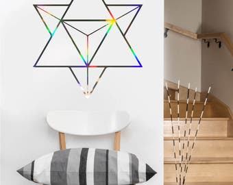 Tetrahedron Decal   Vinyl Wall DECAL   Sacred Geometry   Rainbow Holographic