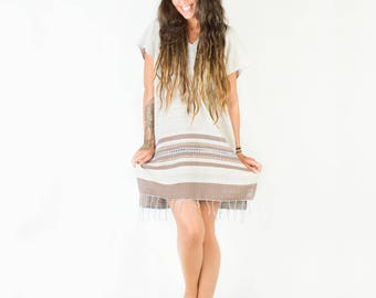 Womens Dress Handmade Hand Woven Cream Long Tunic Top Natural Dyed Cotton From Leaf and Bark Gypsy Desert Primitive Festival Bohemian AJJAYA