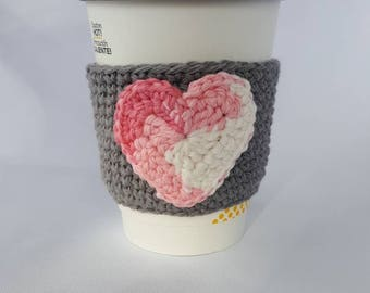Crochet heart Valentine's day coffee cup cozy, crochet coffee sleeve, crochet mug cozy, crochet heart coffee cup cozy, coffee cup sleeve