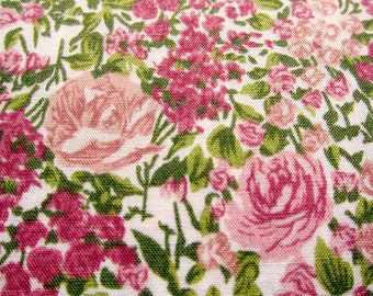 Japanese Fabric Cotton - Floral Print Fabric - Roses in Pink Tones - Fat Quarter