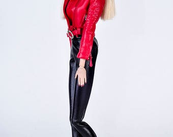 ELENPRIV black leather leggins for Barbie Pivotal body dolls and similar size dolls