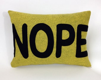Felt Applique Nope Pillow Case in Chartreuse/Black or Gray/Red