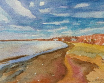 """Original Watercolor, """"Windswept"""", 5""""x7"""" Matted to 8""""x10"""""""