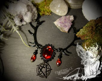 necklace gothic vampire festival black red blood-red gift giftbox pagan wicca wiccanjewelry