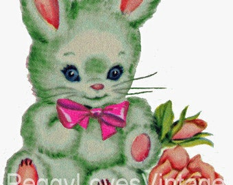 Green Bunny with Pink Bow Digital Image from Vintage Greeting Cards - Instant Download
