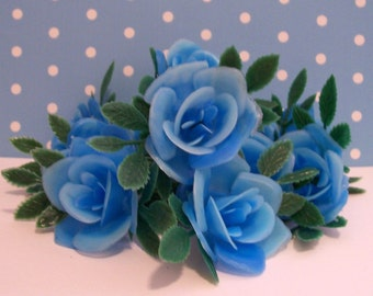 12 Blue Rose Cupcake Toppers