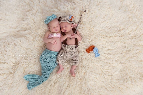 Mermaid and fisherman newborn twin photo prop mermaid newborn