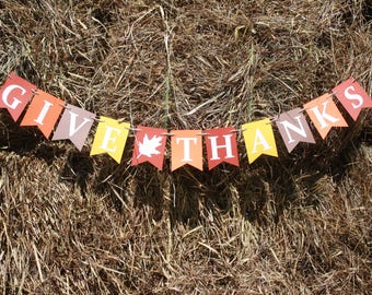 Give Thanks Banner - Fall Banner - Fall signs - Fall decorations - Thanksgiving banner - Thanksgiving sign - Thanksgiving