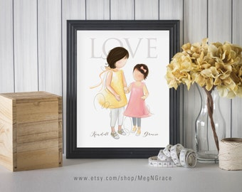 Girl's Room Wall Art Decor Sisters - Black Hair - PERSONALIZED Child's Room Wall Art Print Gift