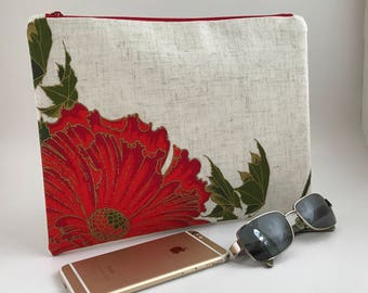 Red Flower CLUTCH PURSE, floral clutch, evening bag, clutch bag, zipper clutch, Alfred Shaheen fabric, BRIDESMAIDS clutch, Summer clutch