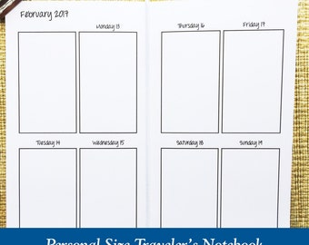 Personal Size Vertical Week on Two Page Traveler's Notebook Insert - Choose Dated or Undated