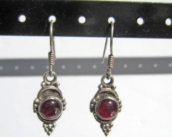 Sterling Silver and Carnelian Stone Bali Style Dangle Earrings - 2555J