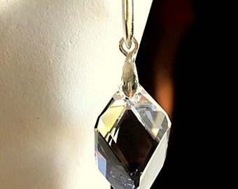 Swarovski Crystal Cube Earrings - Sterling Silver Post or Wire