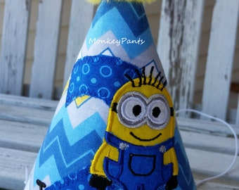 Boys Minion Birthday Hat - 1st Birthday Hat - Minion Birthday Hat - Personalized - Photo Prop
