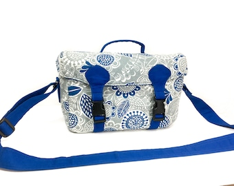 Handmade Camera bag with holders for 2 lenses - Blue / White / Gray -made out of cotton fabric, cushioned