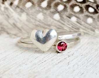 Tiny Heart Ring - Sterling Silver - Stackable Heart - Red Heart Ring Set - Romantic Valentines Day Gift