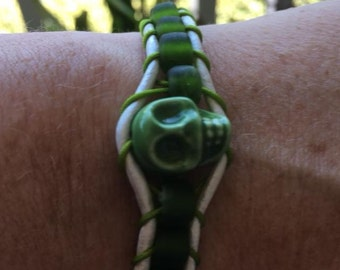 The power of Castle Green Skull: apple-green skull wrap bracelet