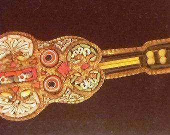 Vintage Italian Mosaic Guitar Pin