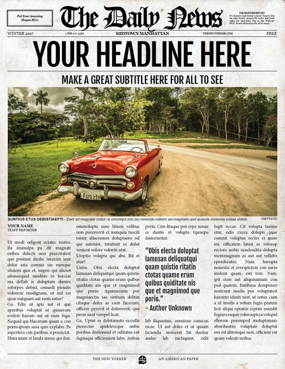 2x1 Page Newspaper Template Adobe Indesign 85x11 11x17