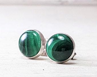 Green Malachite stud Earrings Sterling Silver Posts Earrings 8mm