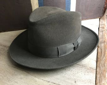 1940s French Gray Fedora Hat, Felted Wool, Brussels