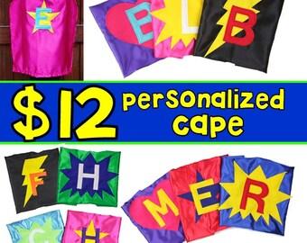 Initial Capes Capes - Superhero Capes - Custom Letter Cape - Magician Cape - Superhero Favors - Super Hero Party - Quick Shipping
