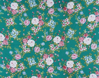 "Indian Dress Fabric, Floral Print, Green Fabric, Sewing Material, Quilting Fabric, 46"" Inch Cotton Fabric By The Yard ZBC8660A"