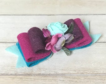 Dainty bow- M2M WDW- small bow- colorful bow- spring bow- Felt bow m2m Well Dressed Wolf silverbells- turquoise, purple and pink bow-