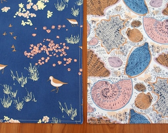 Nautical Placemats with Sand Pipers and Sea Shells in Dark Blue, Brown, Pink, Bird Table Mats, Seashells, Coastline Beachcomber Conchology
