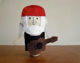 Willie Nelson Finger Puppet - Free shipping!