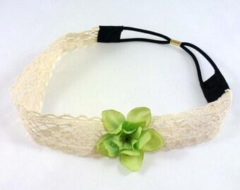 Crocheted mesh flower - green flower headband