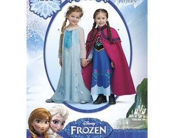 Simplicity 1233, or S0733, FROZEN, Elsa & Anna costume pattern, Disney's Frozen, Elsa's snow queen dress, Anna's day dress,cape, 3-8, UN-CUT