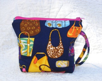 trendy zipper tote, wristlet, small on the go purse