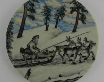 Decorative plate Reindeer Team Andreas Alariesto Arabia Finland